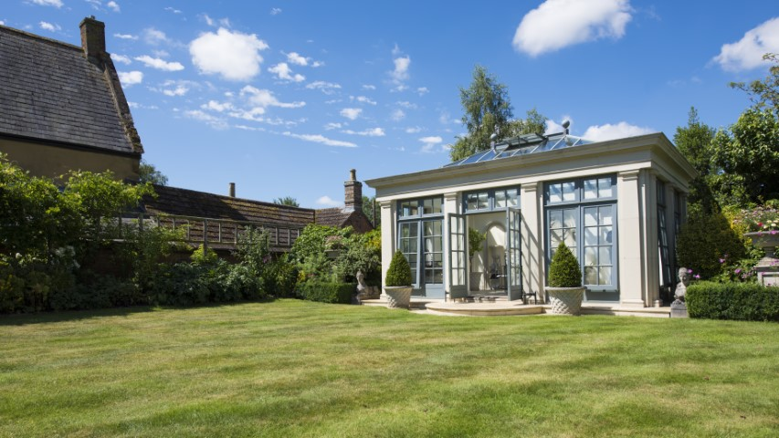 Orangery in stone and glass – ideal for swimming pools or garden rooms